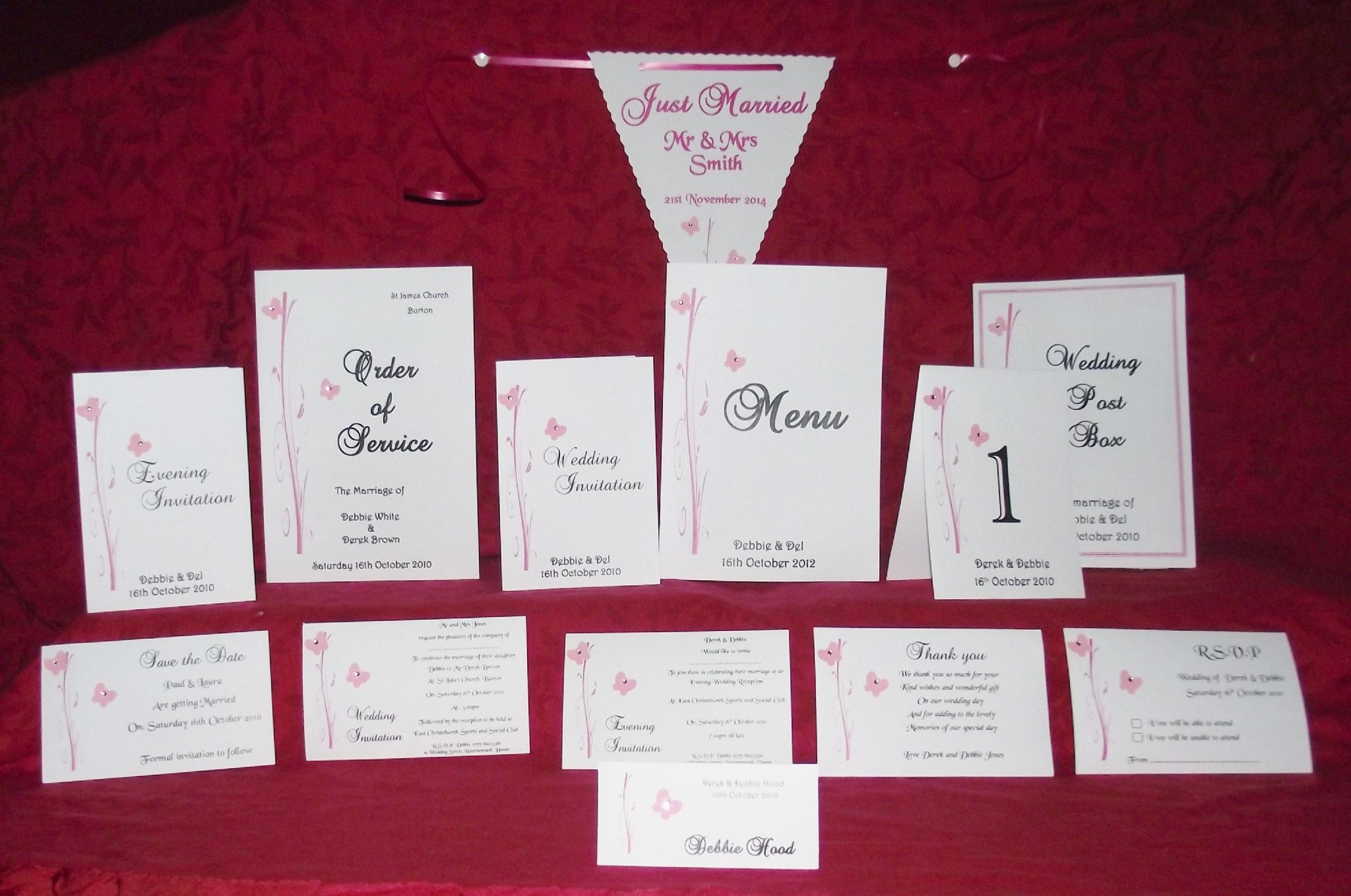 RSVP Cards Butterfly Scroll design with envelopes Personalised x 10